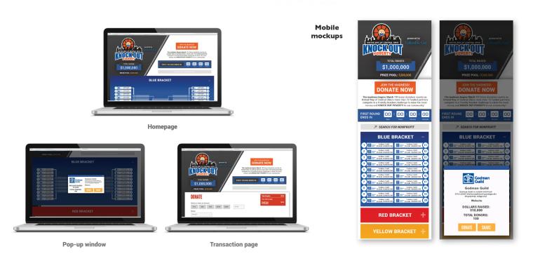 Mockups of United Way's Knock Out Poverty fundraising website