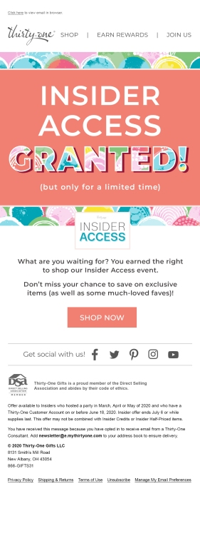 Thirty-One Gifts email