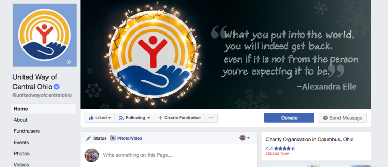 United Way of Central Ohio holiday social media cover - Facebook