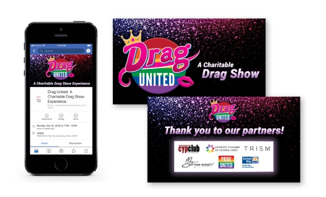 Drag United Facebook event on phone and two Powerpoint presentation screens