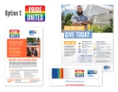 Pride United logo and flyer, pledge card and email header