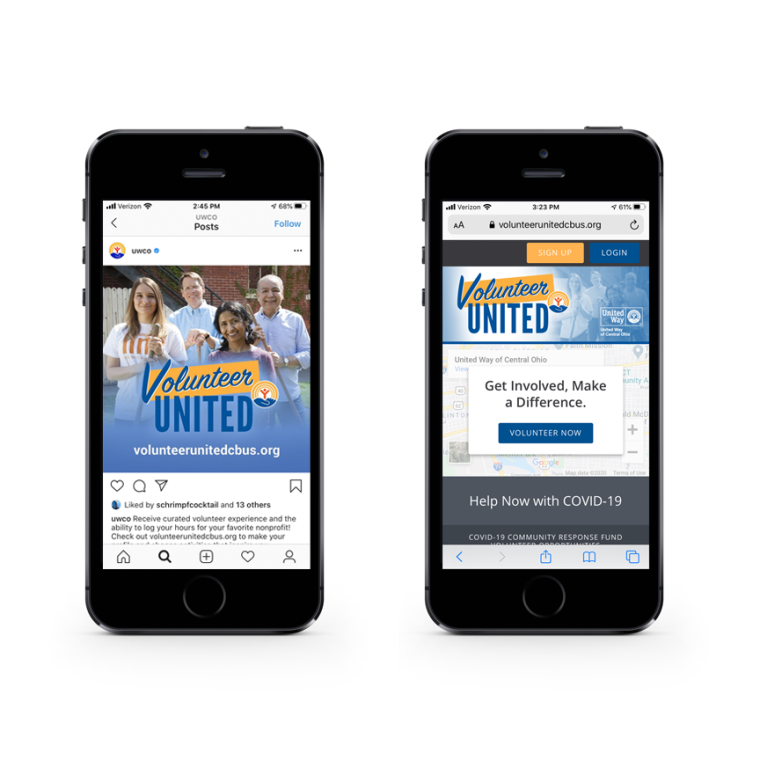 Two iphones showing Volunteer United social media sample and home page for volunteer portal