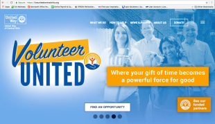 Volunteer United graphic on UWCO homepage